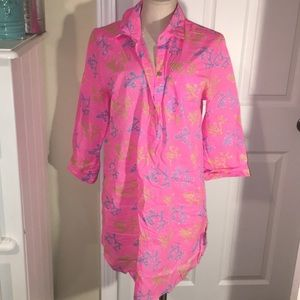 Mud pie pink coral beach cover up or sleep shirt